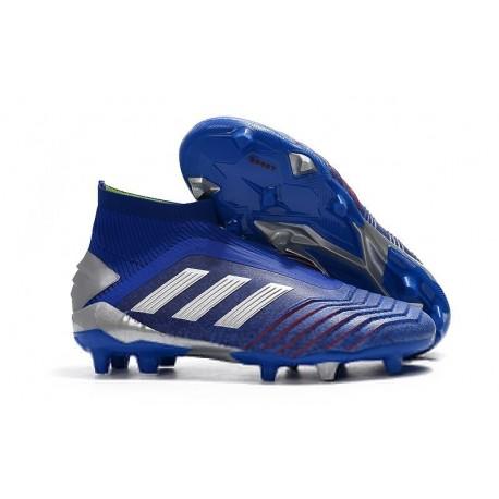 Chaussures de Football adidas Predator 19+ FG Bleu Argent