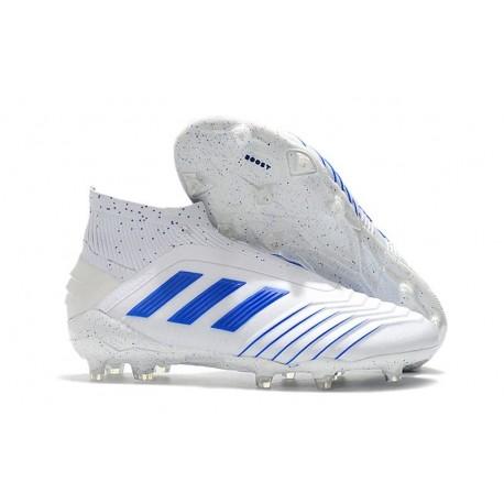 Chaussures de Football adidas Predator 19+ FG Blanc Bleu