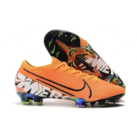 Chaussures Nike Mercurial Vapor 13 Elite FG Orange Noir Blanc