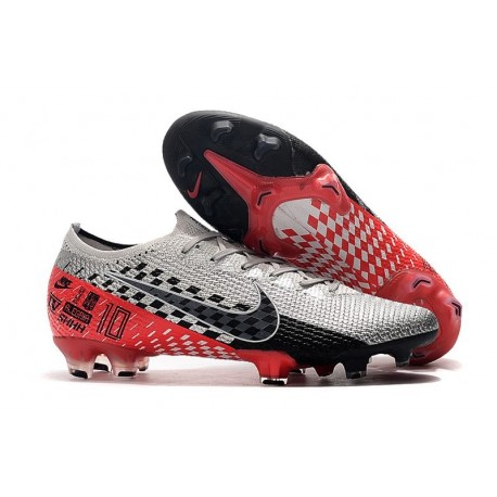 Chaussures Nike Mercurial Vapor 13 Elite FG Neymar Chromé Noir Rouge Platine
