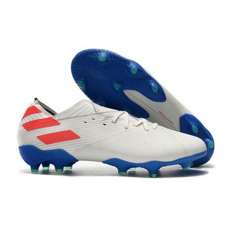 Chaussures de Foot adidas Nemeziz 19.1 FG Blanc Bleu Rouge