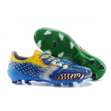 Nouvelle Chaussure de Foot F50 Messi Adizero Trx FG Yamamoto Bleu Vert Jaune