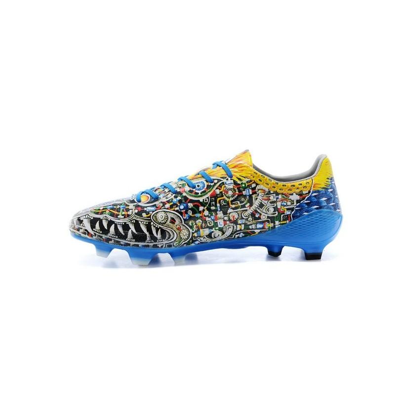 half off 9e8f0 05881 Nouvelle Chaussure de Foot F50 Messi Adizero Trx FG Yamamoto Bleu Vert Jaune