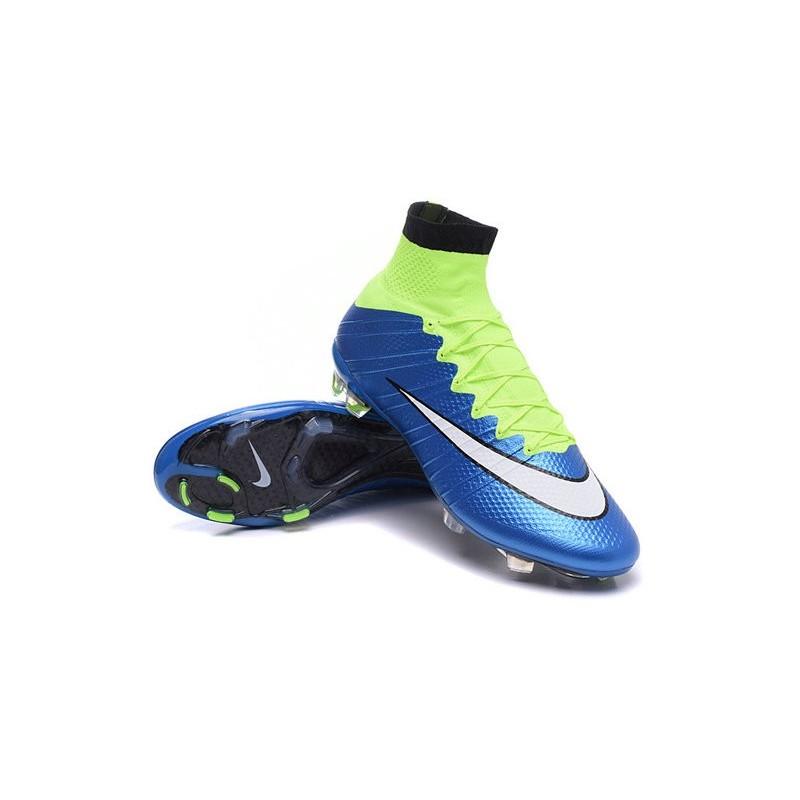 detailed look dd1a7 ed18d Chaussures Pas Cher Nike Mercurial Superfly FG - Bleu Blanc