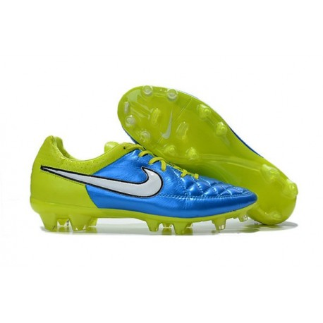 Nouveau Chaussure de Foot Nike Tiempo Legend FG Bleu Lagon Blanc Volt Noir