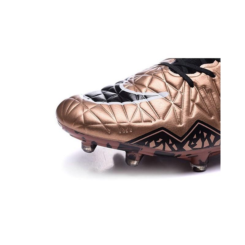 online retailer 4be34 12879 Hommes Chaussures Nike HyperVenom Phantom 2 FG Cannelle Or Noir Blanc