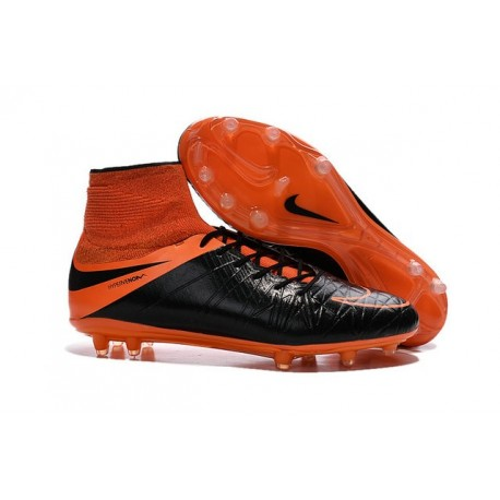 Hommes Chaussures Nike HyperVenom Phantom 2 FG Cuir FG Noir Orange Total