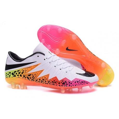 pretty nice d8540 8578a Nike Hypervenom Phantom FG - Terrain Sec - Chaussures De Foot - Premium FG  Blanc Orange Rose Noir