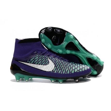 2016 Chaussures Football Magista Obra FG Pas Cher Vert Violet Noir Blanc