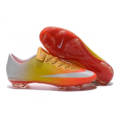 Nouvelles Crampons Nike Mercurial Vapor 10 FG Orange Jaune Or Blanc