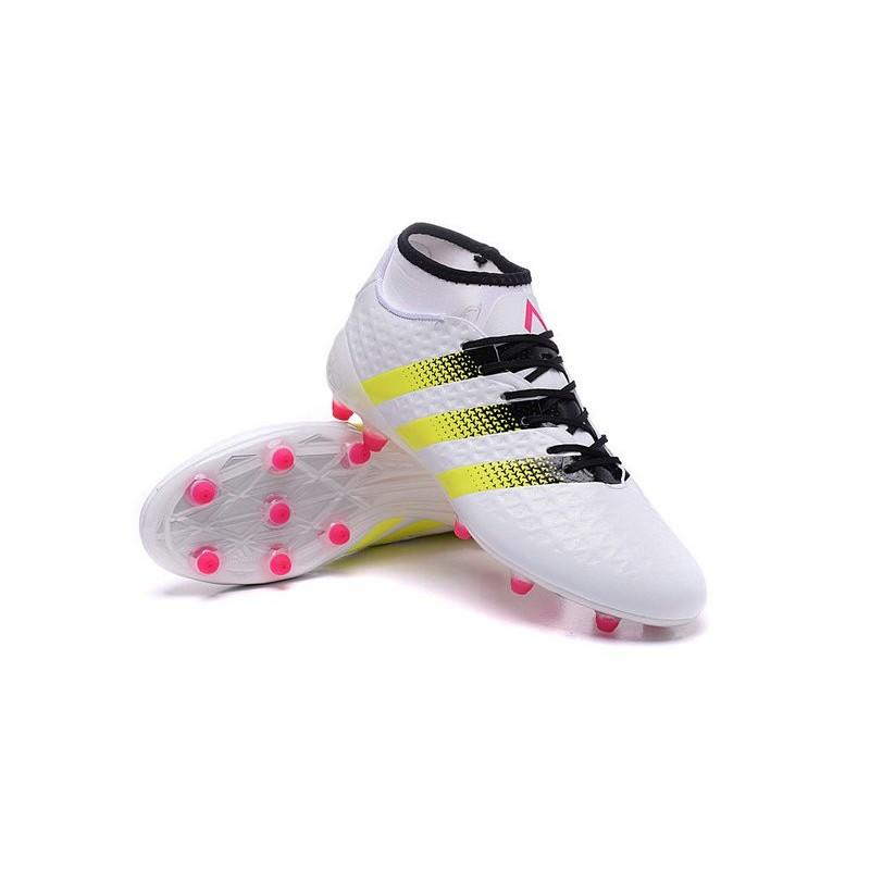 new concept 22ebf d142e Nouvelles Crampons Foot Adidas Ace16.1 Premiknit FGAG Rose Jaune Noir Blanc