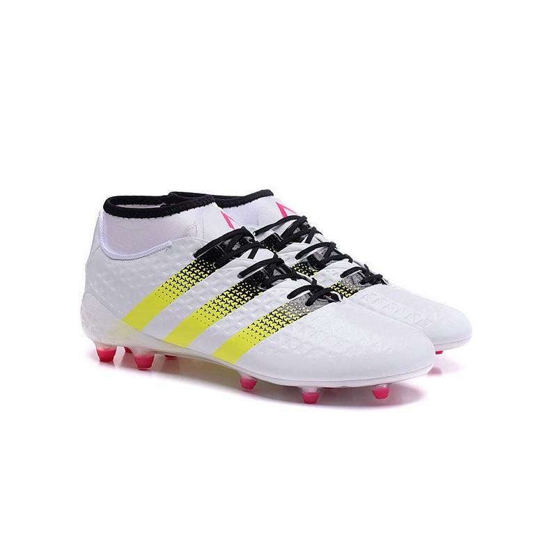 a4d560928b Nouvelles Crampons Foot Adidas Ace16.1 Premiknit FG/AG Rose Jaune Noir Blanc