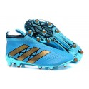 2016 Crampons Foot Adidas Ace16+ Purecontrol FG/AG Bleu Or