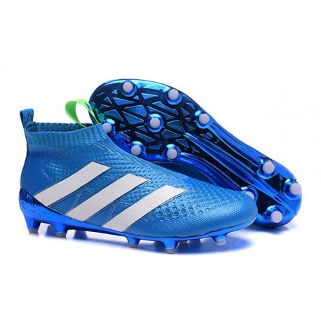 size 40 95148 02bc9 2016 Crampons Foot Adidas Ace16+ Purecontrol FG AG Bleu Blanc