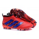 2016 Crampons Foot Adidas Ace16+ Purecontrol FG/AG Rouge Bleu