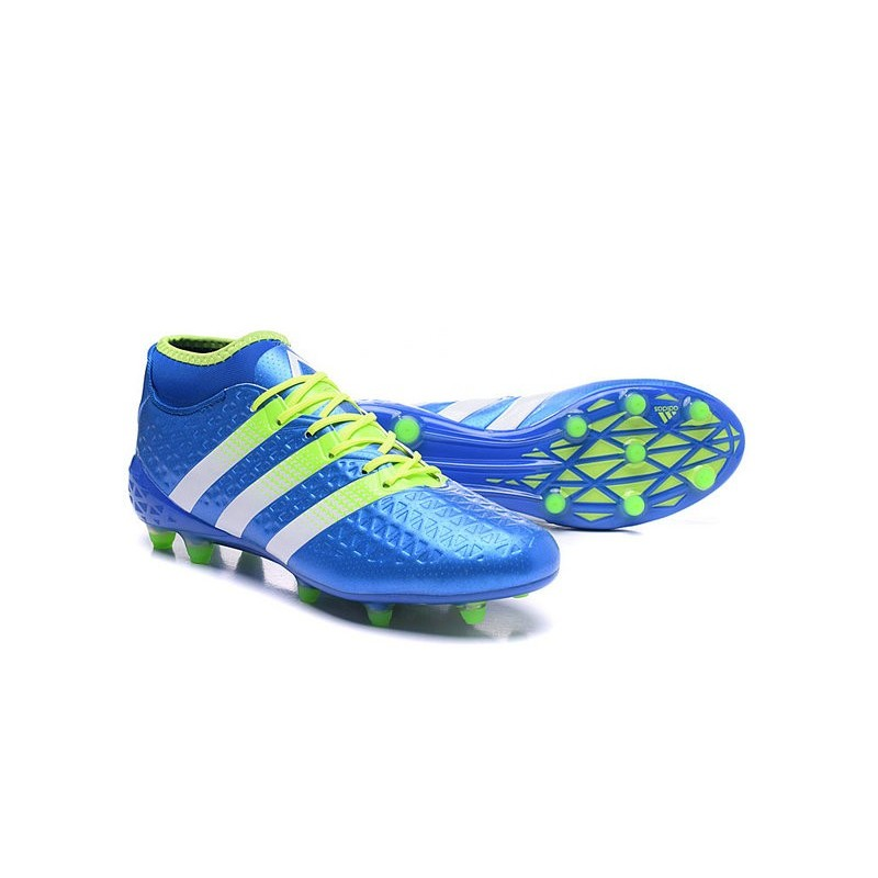 hot sale online 81f81 da8f0 Nouvelles Premiknit Adidas Bleu Fgag 1 Vert Foot Ace16 Crampons Blanc  6XqBycr1X