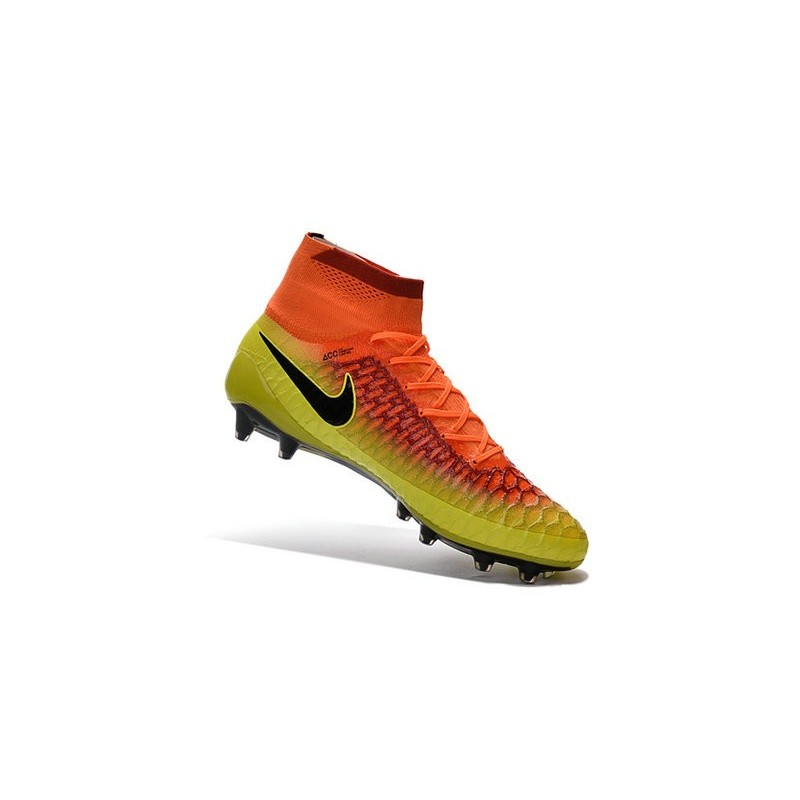 huge selection of 28ef7 9107b 2016 Chaussures Football Magista Obra FG Pas Cher Carmin Noir Agrume