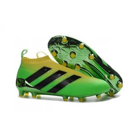 2016 Crampons Foot Adidas Ace16+ Purecontrol FG/AG Solar Vert Jaune Noir - Jeux Olympiques Brésil