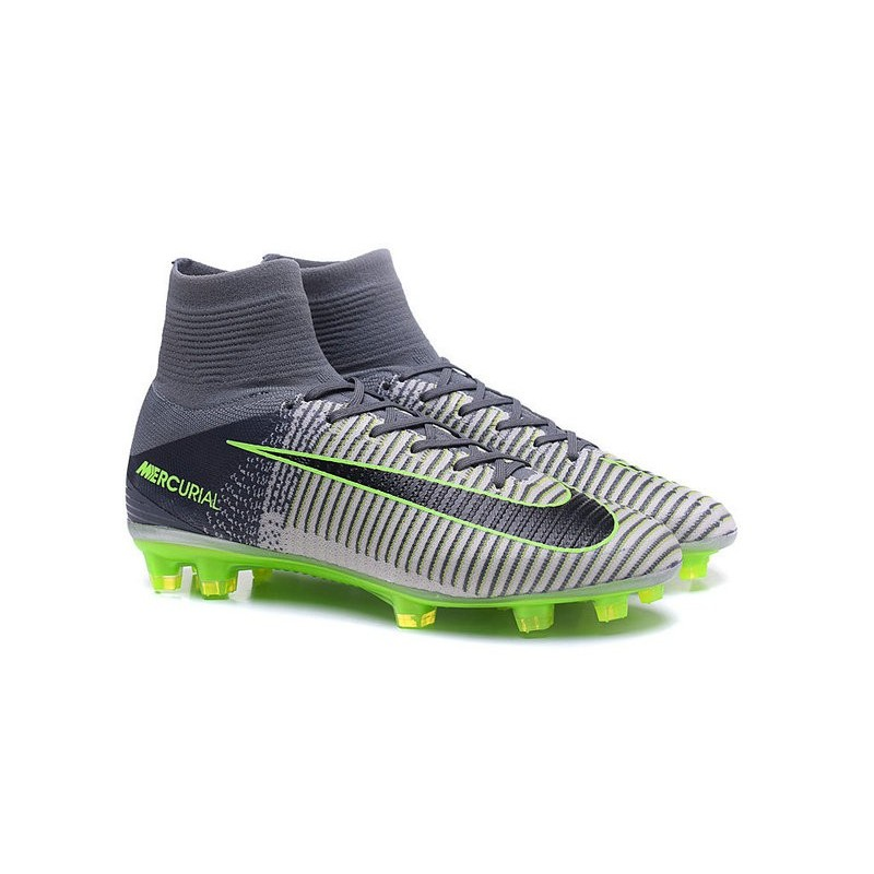 newest collection fbd01 b9db8 Chaussures Nike - Crampons de Footabll Homme - Nike Mercurial Superfly 5 FG  Gris Noir Vert