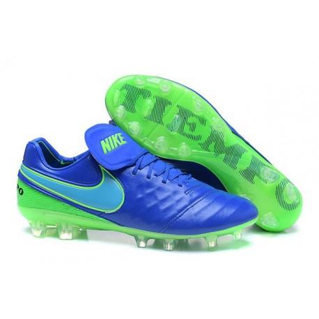 Chaussures de football Nike Tiempo Legend 6 FG Hommes Bleu Vert
