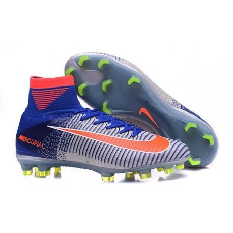 Chaussures Nike - Crampons de Footabll Homme - Nike Mercurial Superfly 5 FG 2016 Rio Bleu Blanc Orange