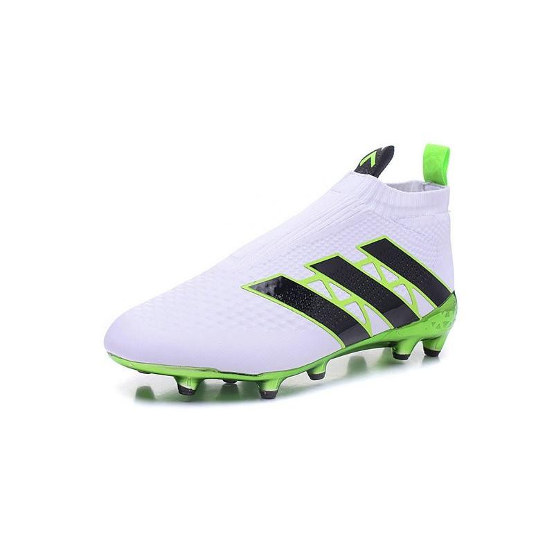 new style fca77 7bb29 2016 Crampons Foot Adidas Ace16+ Purecontrol FGAG Vert Blanc