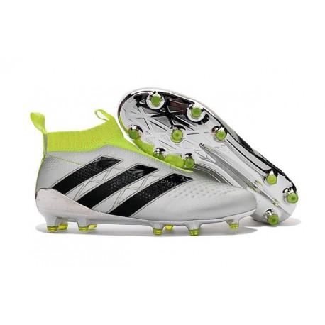 2016 Crampons Foot Adidas Ace16+ Purecontrol FG/AG Argent Noir Jaune