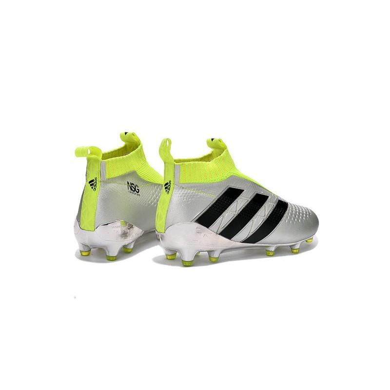 newest 106cb b7180 2016 Crampons Foot Adidas Ace16+ Purecontrol FGAG Argent Noi