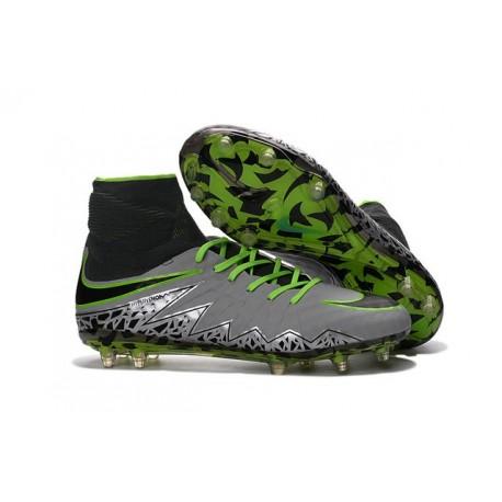 Hommes Chaussures Nike HyperVenom Phantom 2 FG Platine Noir Vert