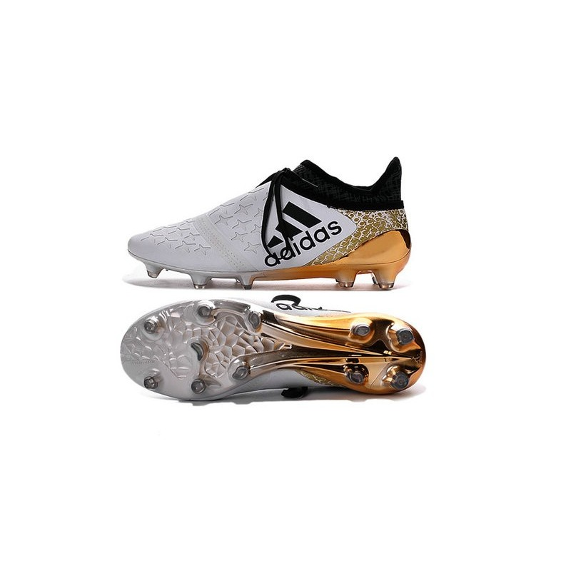 online store 9e3ed d0752 Nouvelles Crampons Adidas X 16+ Purechaos FGAG Blanc Or Noir