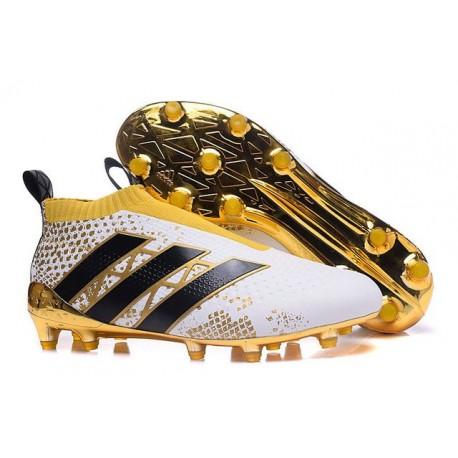 2016 Crampons Foot Adidas Ace16+ Purecontrol FG/AG Stellar Pack Stellar Pack Noir Blanc Or