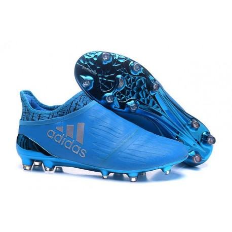 Nouvelles Crampons Adidas X 16+ Purechaos FG/AG Argenté Bleu