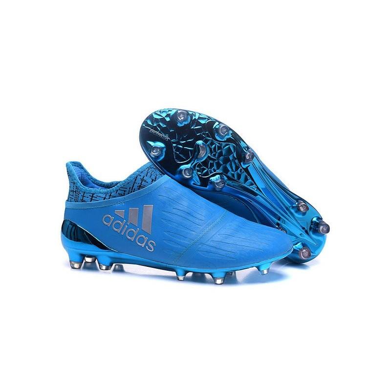 sports shoes f3abf 6ad9d Nouvelles Crampons Adidas X 16+ Purechaos FGAG Argenté Bleu Zoom. Précédent.  Suivant