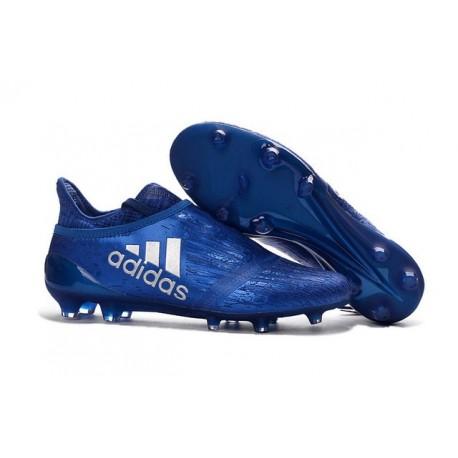 Chaussures Homme - Adidas X 16+ Purechaos FG Bleu Argenté