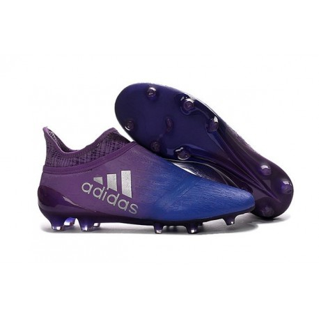 2016 Crampons Football Adidas X 16+ Purechaos FG Violet Bleu Argenté