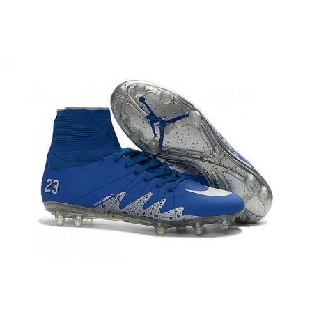 Hommes Chaussures Nike HyperVenom Phantom 2 FG Neymar x Jordan Bleu Argenté