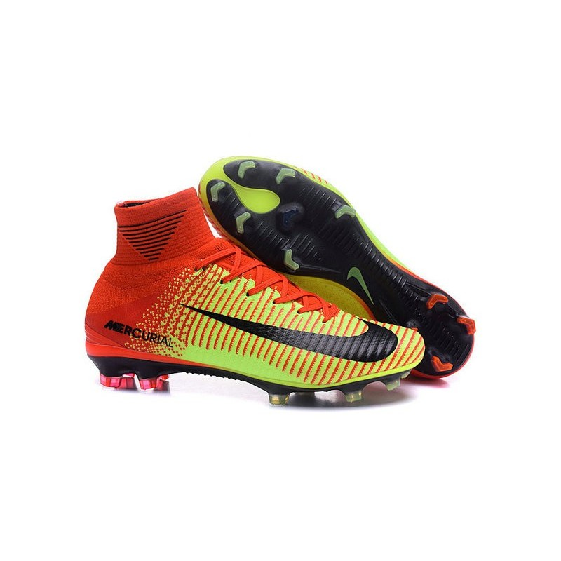 Chaussures Nike - Crampons de Footabll Homme - Nike Mercurial Superfly 5 FG  Rouge Volt Noir 85f3cc05fc5ba