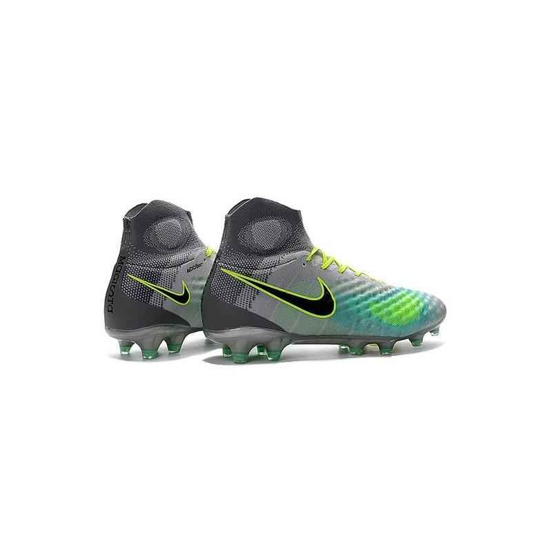 best website f0070 72d0d Chaussures de football - Nouveau Nike - Magista Obra II FG Platine Noir Vert