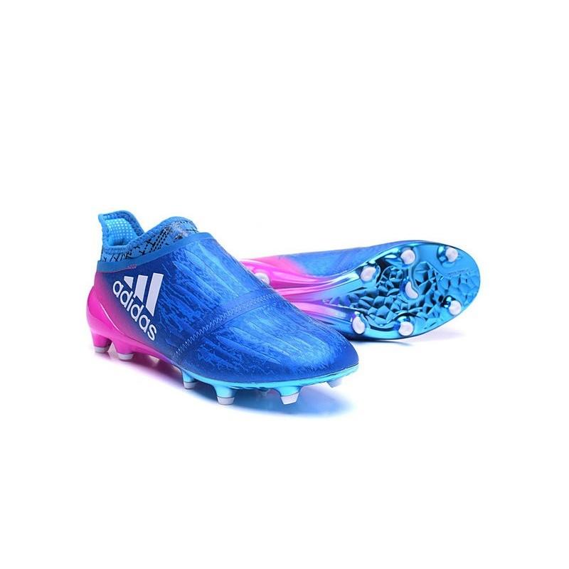 size 40 5c61d 2f126 Nouveau Crampons - Adidas X 16+ Purechaos FG Bleu Rose Blanc Zoom. Précédent.  Suivant