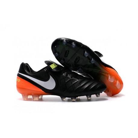 Chaussures de football Nike Tiempo Legend 6 FG Hommes Noir Blanc Hyper Orange Volt