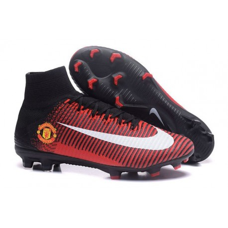 Nike Mercurial Superfly 5 FG - Chaussures de Football 2016 Manchester United Football Club Rouge Noir Blanc