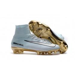 Nouvelles Nike Mercurial Superfly 5 FG - Chaussures de Football CR7 Vitórias Blanc Or Noir