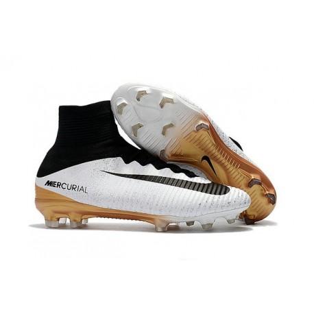 Nouvelles Nike Mercurial Superfly 5 FG - Chaussures de Football Blanc Or Noir