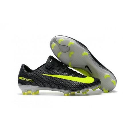 Nouveau Chaussures Football - Nike Mercurial Vapor XI FG Crampons CR7 Algue Volt Hasta Blanc
