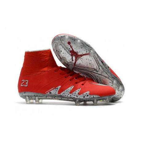 Hommes Chaussures Nike HyperVenom Phantom 2 FG Rouge Argent