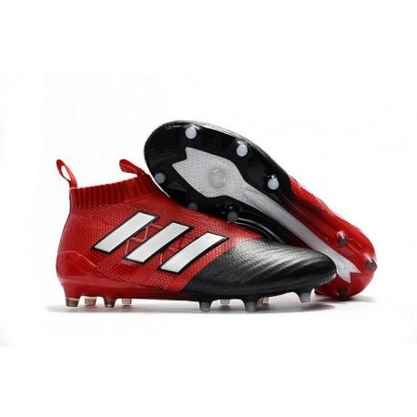 Nouvelles Crampons Foot Adidas Ace17+ Purecontrol FG/AG Blanc Rouge Noir