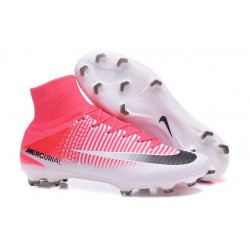 Chaussures de Foot Pas Cher Nike Mercurial Superfly V FG - Rose Blanc Noir
