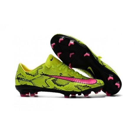 Nouveau Chaussures de Foot Nike Mercurial Vapor 11 FG Peau de serpent Rose Jaune