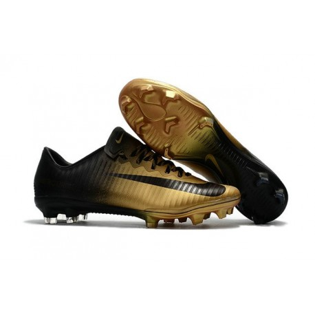 Chaussures de Foot Nike Mercurial - crampon mercurial vapor XI FG ACC Or Noir