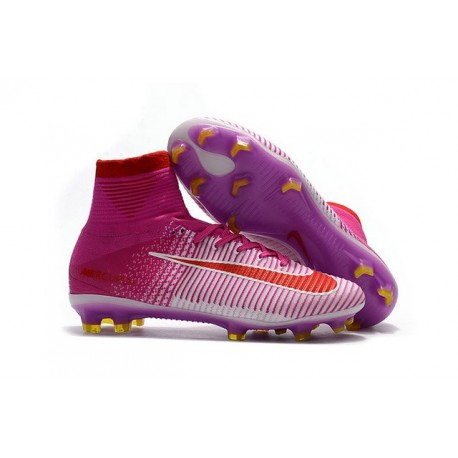 2017 Chaussures de Football Nike Mercurial Superfly V FG - Rose Blanc Rouge